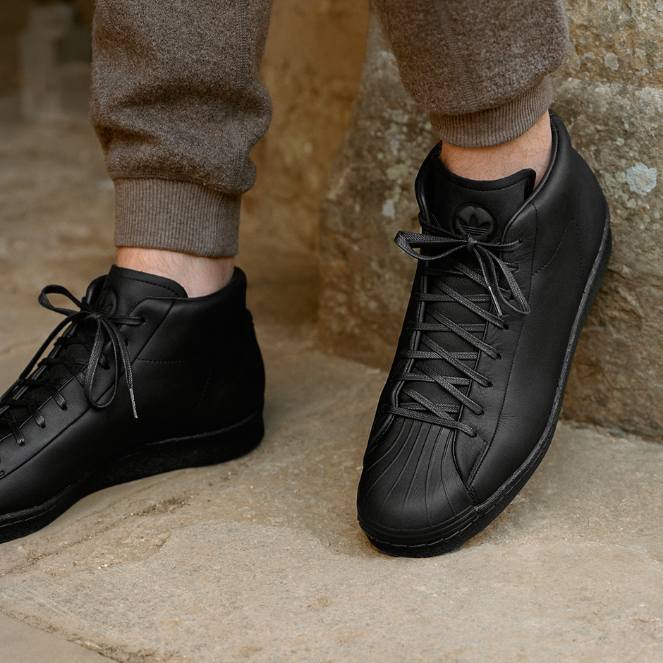 adidas x wings+horns, adidas orginals, wings+horns, all black, adidas shoes, superstar