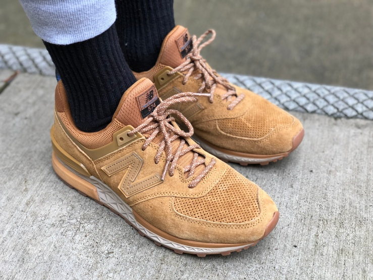 New Balance, 574 Sport, New Balance lifestyle, New Balance 574, lifestyle shoes, athleisure, sneakers, tan shoes, suede shoes, fresh foam, modern classic